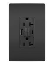 radiant® 20A Tamper-Resistant Self-Test GFCI USB Type-AC Outlet, Black