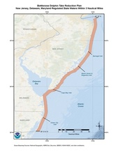 This is a map of the Bottlenose Dolphin Take Reduction Plan for New Jersey, Delaware and Maryland.