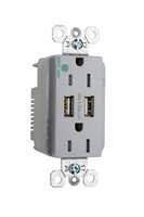 Hospital-Grade USB Charger with Tamper-Resistant 15A Duplex Receptacles, Gray