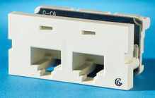 Series II, two-port Clarity 6,T568A/B, 180 degree, Wiremold Ivory