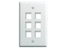 1-Gang, 6-Port Wall Plate, Ivory