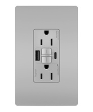 radiant® 15A Tamper-Resistant Self-Test GFCI USB Type-AC Outlet, Gray