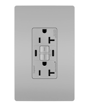 radiant® 20A Tamper-Resistant Self-Test GFCI USB Type-CC Outlet, Gray