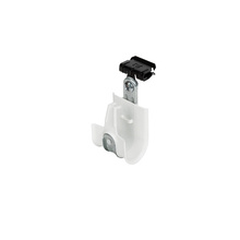 1'' White Plastic Coated J-Hook w/ Latch & Knock-on Beam Clip 1/8-1/4'' Box of 25 [F000669]