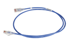 28awg Reduced Diameter CAT 6 channel cord, blue, 15'