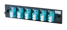6-LC (12 fibers) multimode aqua adapters with ceramic alignment sleeves