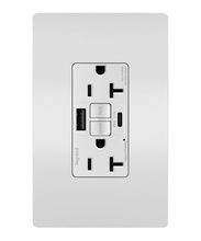 radiant® 20A Tamper-Resistant Self-Test GFCI USB Type-AC Outlet, White