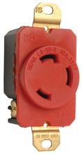 30 Amp NEMA L630 Single Receptacle, Red