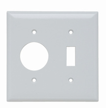 Combination Openings, 1 Toggle Switch & 1 Single Receptacle, Two Gang, White