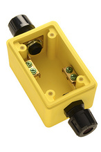 "Watertight Deep Yellow Back Box, 1/2"""" Feed Thru NPT for Duplex Receptacles"