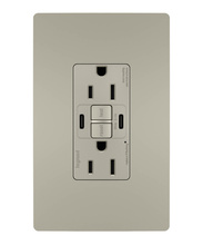 radiant® 15A Tamper-Resistant Self-Test GFCI USB Type-CC Outlet, Nickel, 4-Pack