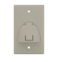 Single Gang Hinged Bullnose Wall Plate, Light Almond