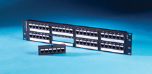Category 6 48 Port TechChoice Flat Patch Panel, T568A/B, 2 RU Black