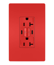 radiant® 20A Tamper-Resistant Self-Test GFCI USB Type-CC Outlet, Red