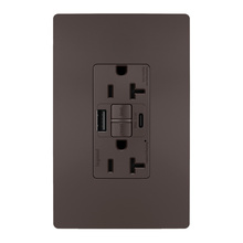 radiant® 20A Tamper-Resistant Self-Test GFCI USB Type-AC Outlet, Brown
