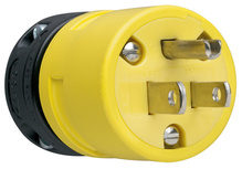 15A, 125V Rubber Dust-Tight Plug, Yellow