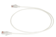 28awg Reduced Diameter CAT 6 channel cord, white, 15'