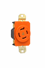 20 Amp NEMA L1520 Single Receptacle, Orange, Isolated Ground