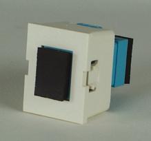 TracJack Module, 1-SC Simplex (1 Fiber) Multimode, Aqua adapters, 180 degree exit, flush