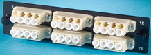 6-LC Quad (24 fibers) multimode adapters with phosphor bronze sleeves
