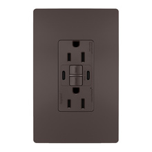 radiant® 15A Tamper-Resistant Self-Test GFCI USB Type-CC Outlet, Brown