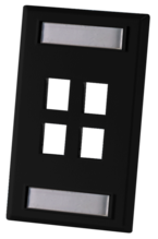 SINGLE GANG FACEPLATE, HOLDS FOUR KEYSTONE JACKS OR MODULES