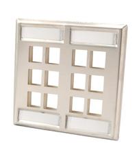 Dual gang stainless steel faceplate - holds twelve Keystone jacks or modules