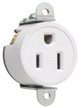 Short Strap Spec Grade Single Receptacle, Side Wire, 15A, 125V, Ivory