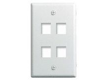1-Gang, 4-Port Wall Plate, White