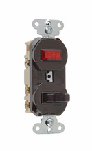 Non-Grounding Three-Way Combination Switch & Pilot Light, Brown