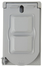 Cast Weatherproof Cover Vertical Toggle Switch & Power Outlet, Gray