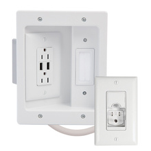 In Wall TV Power Kit with USB White