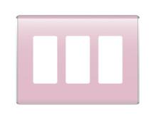 3-Gang Studio Wall Plate, Cameo Pink