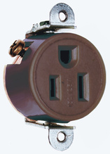 Short Strap Spec Grade Single Receptacle, Side Wire, 15A, 125V, Brown
