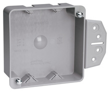 """Shallow 4"""""""" Square Box with Threaded Mounting Holes"""
