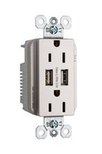 Fed Spec Grade USB Charger w/ Tamper-Resistant 15A Duplex Receptacles, Nickel