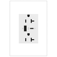 adorne 20A Tamper-Resistant Ultra-Fast USB Type A/C Outlet - White