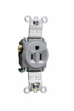 Heavy-Duty Spec Grade Single Receptacles, Back & Side Wire, 15A, 125V, Gray