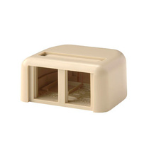 TRACJACK PLASTIC SURFACE MOUNT BOX FOR TWO TRACJACKS SINGLE SIDED, WITH COVER, ELECTRICAL IVORY