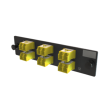 Q-Series, OFP Adapters 6 Keyed Front Non-Keyed Rear LC Duplex Adapters, 12 Fiber, Yellow