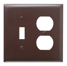 Combination Openings, 1 Toggle Switch & 1 Duplex Receptacle, Two Gang, Brown