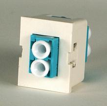 TracJack Module, 1-LC Duplex (2 Fibers) Multimode, Aqua adapters, 180 degree exit, flush
