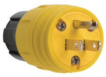 15A, 125V Watertight Straight Blade Plug, Yellow