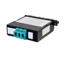 24-FIBER OM4 M4 CASSETTE WITH 6 LC QUAD ADAPTERS TO 3 MPO F- TIER 3- UNIVERSAL POLARITY FLIPPED- AQUA