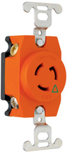 15 Amp NEMA L515 Single Receptacle, Orange, Isolated Ground
