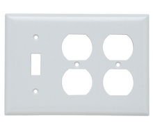Combination Openings, 1 Toggle Switch & 2 Duplex Receptacle, Three Gang, White