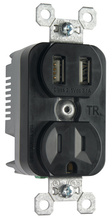 Tamper-Resistant Single Receptacle w/ 3.1A USB Charger, Black