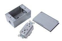 Weatherproof Safety Outlet (GFCI) Kit, Gray