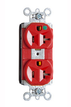 PlugTail® Heavy-Duty Compact Design Hospital-Grade Duplex Receptacle, Red