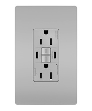 radiant® 15A Tamper-Resistant Self-Test GFCI USB Type-CC Outlet, Gray